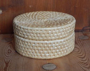 Vintage Basketwork Wicker Basket with Lid Decorative Woven Basket Rustic Home Decor