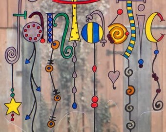 wicoart sticker window cling faux stained glass decal static writing fantastic