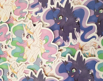 MLP My Little Pony FIM Stickers Princess Luna Princess Celestia Brony Gift