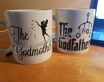Custom Godparents Mug Set, Gift for Godparents, Godparents Gift, Baptism Mug, New Godparent, Godmother Mug, Godfather Mug,Gift for Godparent