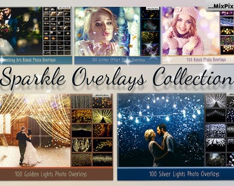 Sparkle Overlays Collection, golden lights, silver lights, bokeh, wedding art, glitter effect, sparkles, photo overlays, christmas, new year