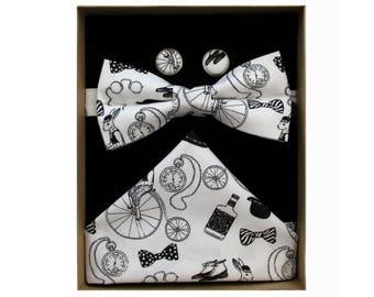 Gentlemens Club Black & White Bow Tie Boxed Gift Set