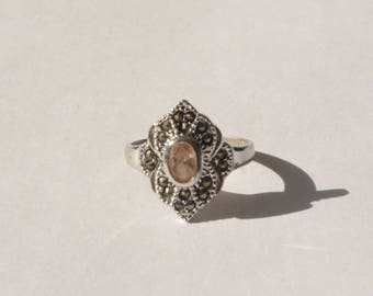 Vintage Signed CR Sterling Silver 925 Natural Citrine Marcasite Inlay Ring Size 7
