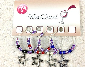 Star Wine Glass Charms, Americana Wine Charms, Wine Drink Tags, Wine Gifts, Wine Charm Set, Star Party Wine Tags - Wine Favors, Gift Set