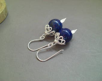 Earrings 'Aliénor' Lapis lazuli and sterling silver