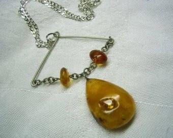 Vintage Antique Eatate Sterling Honey Amber Pendant