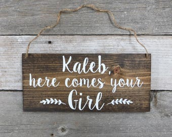 "Personalized Hand Painted Wood Wedding Sign Name & ""Here Comes Your Girl""-Ring Bearer Sign, Flower Girl Sign, Wedding Ceremony  - 12""x5.5"""