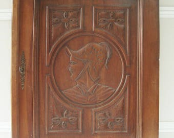 Antique Carved Door, Antique French Door, Carved Wood, Figural Motif,  Architectural Salvage