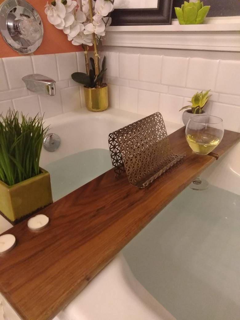 Modern Walnut Bath Tray and Caddy with new WIDE ipad / tablet ...