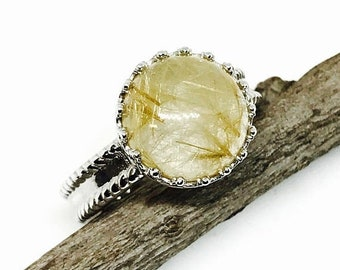 10% Rutilated Quartz Ring set in Sterling silver 925. Size -61/2Natural authentic stone.