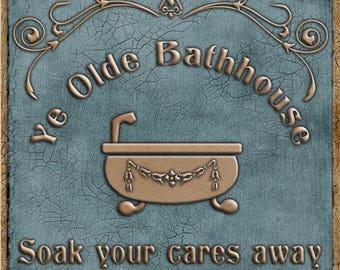 """Digital Clipart """"Ye Olde Bathhouse"""" for signs, labels, transfers, fabric, etc"""