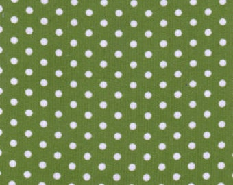 Green white polka dot corduroy, Fabric Finders printed corduroy, 21 wale 58 inch wide green white dot corduroy, apparel corduroy by the yard