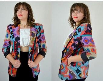 SALE Aztec | Large | 1980s Colorful Blazer 80s Oversized Bold Vintage Jacket
