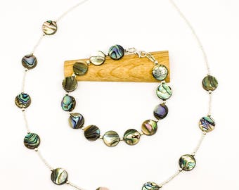 Abalone shell necklace and bracelet - sterling silver beads - available separately