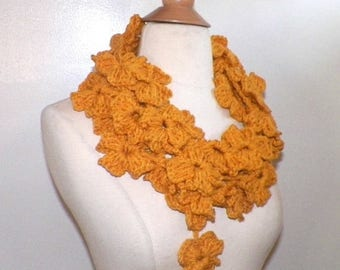 On Sale- Crochet Necklace Scarf Yellow FlowerFestival  Summer Infinity  Floral Leaf Freeform OOAK Extra Long Skinny
