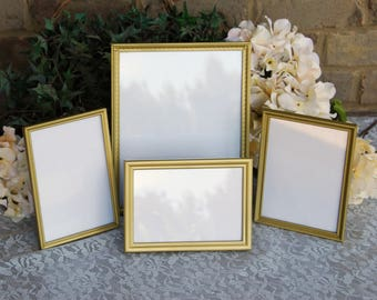 Shabby cottage chic wedding & party decor: Set of 4 vintage gold decorative metal tabletop picture frames w/ easel backs