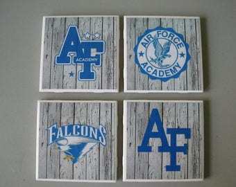US Air Force Academy Themed Ceramic Tile Coasters - Set of 4