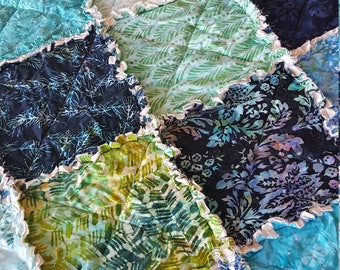 Blue Lagoon Batik King or Over-sized Queen Rag Quilt - Blues, Teal, Greens