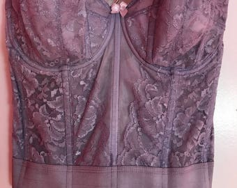 Vintage Lace Bustier Corset Hand Dyed Goddess Size 38B