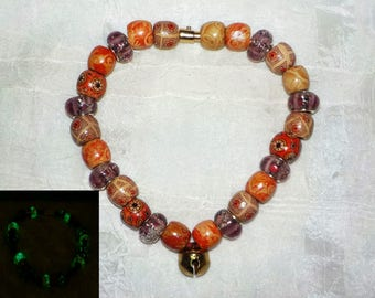 Jingle Bell Glow In The Dark Beaded Dog ~ Cat Collier (Red, Rose and Tan Necklace)