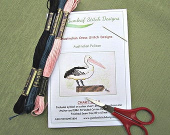 Australian fauna cross stitch chart - Australian Pelican.  PDF instant download