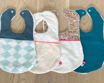 Blue cotton gauze bib and Terry cloth