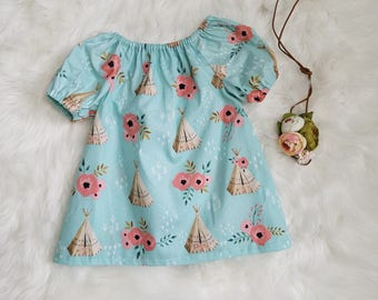Baby Girls Boho Dress-Girls Boho dress- girls peasant dress/top- Toddler Boho dress-Girls peasant dress/top-toddler peasant dress-sz NB to 8