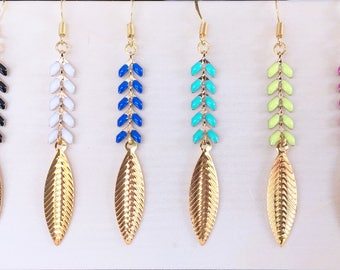 Earrings light golden leaf and Spike
