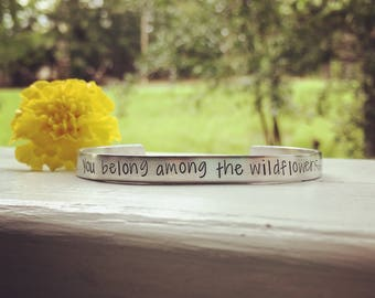 You belong among the wildflowers -Tom Petty quote bracelet