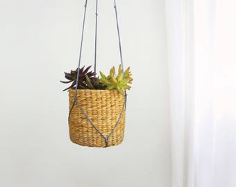 Large Hanging Planter | Vintage Wicker Basket Woven Rattan Plant Pot Holder & Gray Macrame Hanger | Cactus, Succulent | Modern Boho Decor