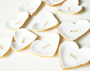 Wedding Favors, Guest Favors, White Hearts, Shower Favor, Ceramic Heart