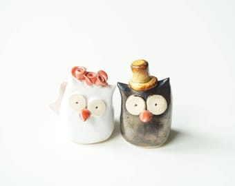 Ceramic Owl Cake Topper,  Sweet Owl Cake Topper, Wedding Cake Topper, Owl Couple, Bird Wedding Cake Topper, Cute Cake Topper