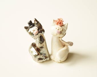 Wedding Cake Topper - Cute Cat Cake Topper - Ceramic Cake Topper