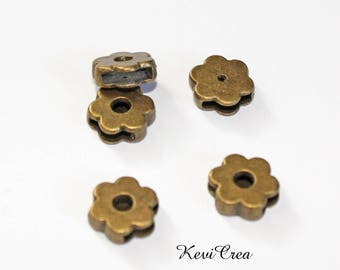 2 x beads loop bronze metal flower