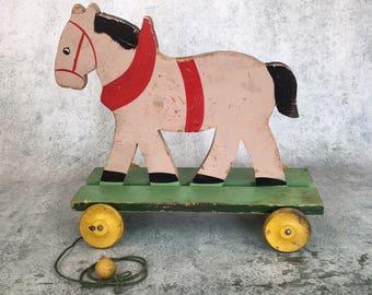 Vintage Primitive wooden horse Pull-Toy, doll toy, folk art toy