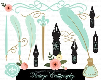 Calligraphy and Swirls /  Mint Clip Art - Instant Download - CA148