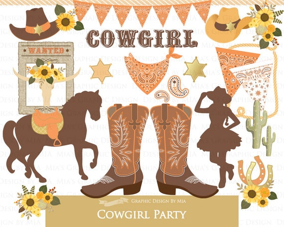 Cowgirl Clip Art Digital Party Boots Cowboy Sunflower
