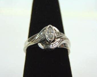 Womens Vintage Estate 10K White Gold Diamond Ring 3.1g E3256