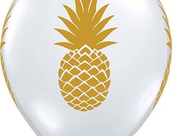 6/  Gold pineapple Party Latex Balloons / Luau Party / Luau Theme / Pineapple theme