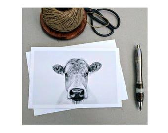 Cow Greeting Card Bovine Art Farm Animals Blank Gift Card Black and White Print 5 x 7 print Greeting Card