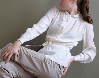 Cream waisted blouse / pearl waisted shirt / white belted blouse / white secretary blouse