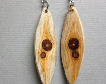 Glowing Pine with Knots Small long thin Exotic Wood Dangle Earrings ExoticWoodJewelryAnd handcrafted ecofriendly