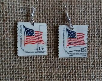 Vintage US Stamp Earrings