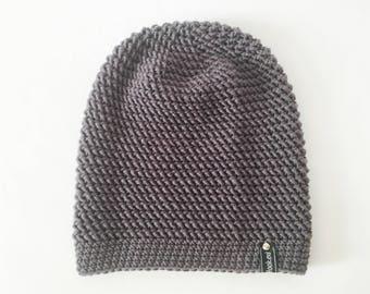 Crochet Slouchy Hat | Dark Grey | iLux Merino