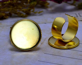 5 Supports Cabochon 20mm (T291) gold ring set