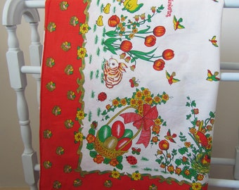 Large Vintage Easter Bunny Rabbit and Chicks Tablecloth
