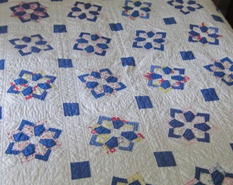 Wonderful Cozy Vintage Blue and Multicolored Feedsack Propeller Quilt 72X82""