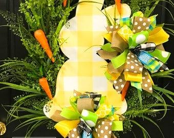 Bunny - Yellow Buffalo Check - Grass Wreath