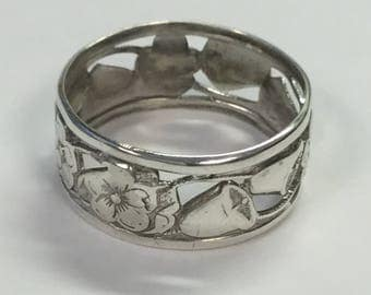 Vintage Sterling Floral Bell Cutout Band Indian Chief Head Hallmark Ring  Size 6