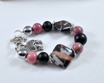 women rhodonite onyx hematite silver Buddha bracelet